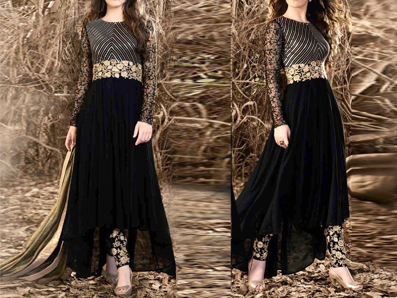 P10452 Embroidered Black Chiffon Maxi Dress Shopping Today